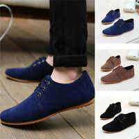 Men fashion Casual suede Soft Lace Up Loafers Sneakers Sport Shoes New Fashion