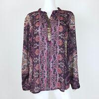 Dressbarn Size 1X Blouse Top Front Sequined Long Sleeve Purple Semi Sheer