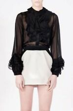 SPECIAL SALE BNWT AN ODE TO NOONE Silk frills shirt blouse ruffles black white