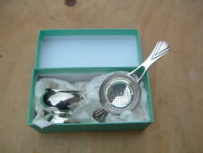Fortnum & Mason Silver Plated Tea Strainer Art Deco Style Boxed.