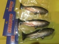 THREE HUDDLESTON  delux weedless Shad Silver/black..4.25 BEST DEAL TOUGH TO FIND