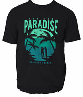 Paradise California T Shirt Surfing Beach Surf Mens Ride Waves S 3xl Neck  S-3XL