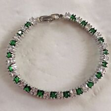 "GB Green emerald sim diamond princess cut 7"" white gold gf tennis bracelet PlumU"