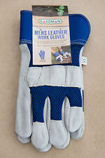 Gardman Outdoor Mens Garden Work Gloves Blue Cow Split Leather One Size Fits All