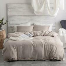 Argstar 3 Pcs 100% Microfiber Queen Size Duvet Cover With Buttons, Washed Cotton