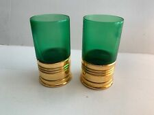 2 Vintage Green Glass Glasses - Sure Shot  - 1952