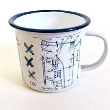 Scotch Soda Amsterdams Blauw White & Blue Design Sketch Enamel Metal Mug Cup