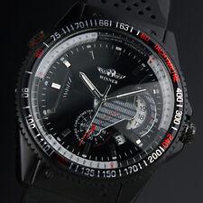 Black Automatic Mechanical Mens Wrist Watch Rubber Strap Pin Buckle Self-winding