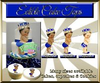 Vintage Baby boy Edible Cake Topper sugar paper picture king blue cupcakes crown