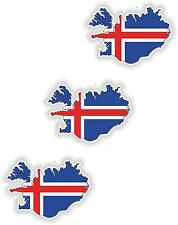 3x Iceland Map Flag Stickers Silhouette With Flag for Helmet Hard Hat Locker