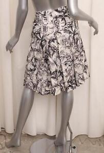 CAROLINA HERRERA Womens Cream Floral Print Cotton Pleated A-Line Skirt 2/XS