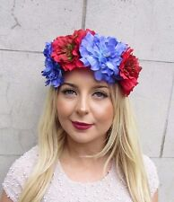 Large Red Violet Purple Flower Headband Festival Boho Hair Crown Garland 2694