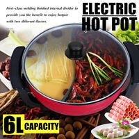 6L Electric Twin Hot Pot Mandarin Duck Smokeless Non-Stick Hotpot Cooker Divider
