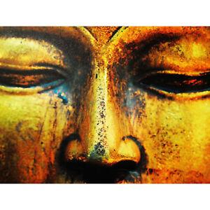 Buddha Statue Head Face Large Canvas Wall Art Print