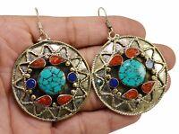 Ethnic Nepalese Tibetan Coral Turquoise Lapis Gemstone Silver Earrings GTE5043