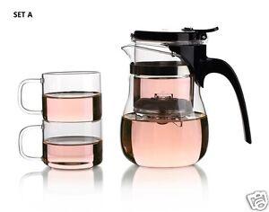 3 Piece Glass Tea Set Button Controlled Infuser Teapot Tea Maker+2 Small Tea Cup