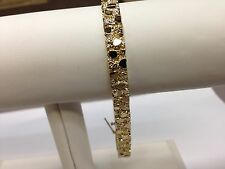 """14k Solid Gold Mens Nugget Bracelet 7 mm 25.5 grams 8"""""""