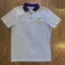 New listing Nike Minnesota Vikings Golf Polo Shirt Medium Dri-Fit White Purple Striped NFL
