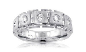 1.25 Ct Men's Round, Princess and Baguette Diamond Wedding Band 18 kt White Gold