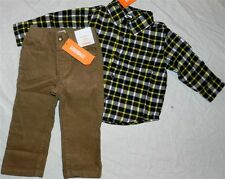 Brown Pant Set Gymboree 4pc Flannel Shirt Fall Winter Boy size 12-18 mo New