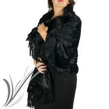 Stola nera pelliccia elegante eco invernale cerimonia mantella scialle sciarpa
