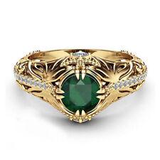 Gold plated Emerald Diamond Women Anniversary Engagement Wedding Gemstone Ring