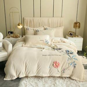 Bedding set 4pcs Super warm soft quilt cover bed sheet pillowcase 3D embroidered