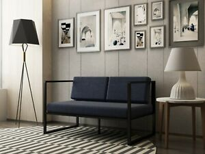 Contemporary Upholstered Loveseat Compact Home and Office 2 seat Sofa