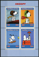 Chad 2019 MNH Snoopy Peanuts 4v M/S Cartoons Comics Stamps