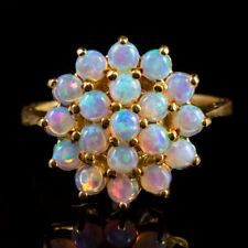 OPAL CLUSTER RING 18CT GOLD SILVER