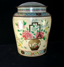 Chinese Motifs Covered Biscuit Tin Baret Ware, Butterflies, Flowers Vintage