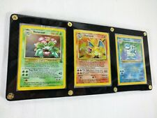 (3) Base Set Charizard, Blastoise, Venusaur Display Case 4/102, 2/102 & Promo 13