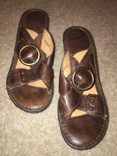 New! Womens BORN BROWN LEATHER Clog Heel SANDALS SLIDES W6070 U.S. Size 7