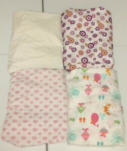 LOT of 4 Girls Standard Fitted Crib or Toddler Bed Sheets