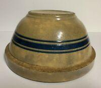 "Antique 3 Triple Blue Band Yellow Ware/Stoneware Mixing Bowl 9"""