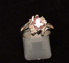 Very pretty Sterling Silver Marquise Pink Cz And Crystal Accent 4.2g Ring 5