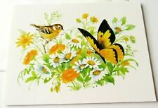 Unused Vintage Greeting Card Blank Cute Bird w Daisies and Butterfly
