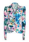 Ladies New Floral Tropical Ruffle Coat Jacket Blazer Long Sleeve Top Size 8-14