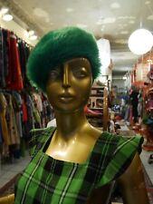 Plüschmütze dralon Fake Fur Hut Plüsch 60er knallgrün TRUE VINTAGE 60s MOD hat