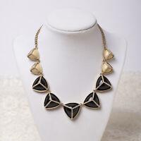 "Fossil Black & Cream Resin Triangle 17"" Rhinestone Gold Tone Necklace"