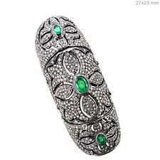 NEW Emerald Sterling Silver Pave 4.33ct Diamond Knuckle Ring 14k Gold Jewelry QY