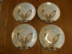 Set 4:Williams Sonoma Damask Bunny Dinner Plates -Easter-Blue & White background
