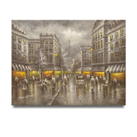 NY Art - Selective Color Paris at Night Scene 36x48 Oil Painting on Canvas!