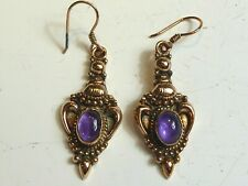SOLID SILVER & ROSE GOLD PLATED AMETHYST DROP EARRINGS