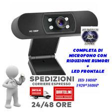 Webcam Full HD 1080P + microfono LED videocamera smart working lezioni online PC