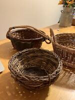 Mixed Lot Baskets -Vintage Wicker Rattan Woven Bamboo Farmhouse Primitive p90