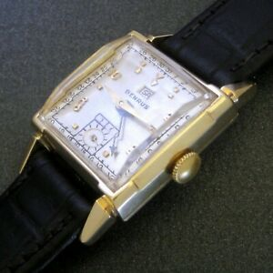 Mens 1950s Benrus 14K SOLID GOLD Vintage CONCENTRIC 2x Date Fancy Lug Tank Watch