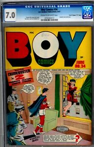 BOY COMICS #34-CGC 7.0- HIGRADE 1947 SUICIDE CVR- (D COPY)