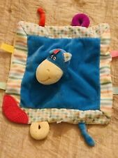 Lil Moments Hippo Tabs Tags blue baby security blanket lovey plush teether