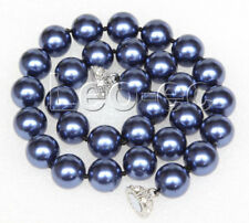 """sea shell pearls necklace V57 18"""" 14mm round navy blue south"""